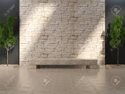 modern grunge interior with marble bench and stone wall stock