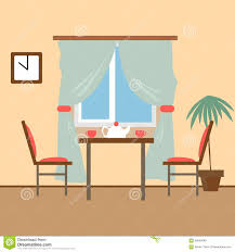 Living And Dining Living And Dining Rooms With Furniture Flat Style Vector Illust