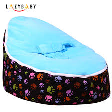 lazybaby medium paw print baby bean bag chair kids bed for