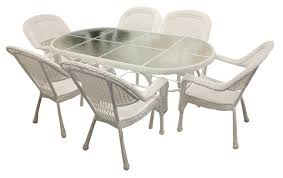 6 Seat Patio Table And Chairs 7 Piece White Resin Wicker Patio Dining Set 6 Chairs And 1