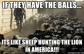 Lion Sex Meme - if they have the balls its like sheep hunting the lion in america