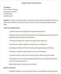 Resume Sample For Fresher Teacher by Professional Teacher Resume Templates 23 Free Word Pdf