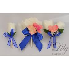 Coral Boutonniere Coral Royal Blue Peach Ivory Bouquets Corsages Boutonnieres