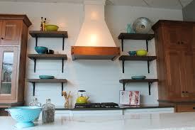 kitchen style open shelving in farmhouse style kitchen wood range
