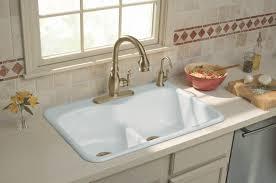 Interesting Double Kitchen Basin Sinks Suited For Dark Countertop