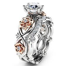 best women rings images Cheap best sweet zircon inlaid rose gold flower heart hollow jpg