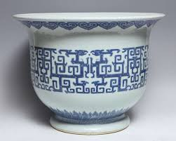 a fine pair of antique chinese blue and white porcelain planters