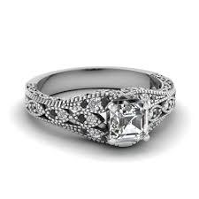 asscher cut diamond engagement rings 18k white gold asscher cut black diamond vintage engagement rings