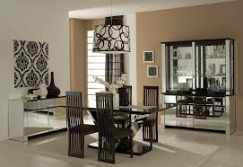 black and white color scheme for small dining room with large
