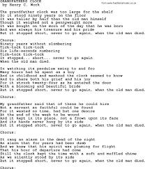 grandfather s clock world war one ww1 era song lyrics for grandfathers clock