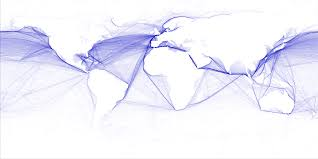 One World Route Map by Shipping Routes Visualization Compiled From Gps Data Very