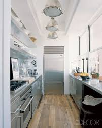 narrow galley kitchen ideas small galley kitchen design with silver heavy cabinets and wood
