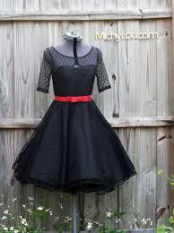 black cocktail dress polka dot tulle fabric retro style