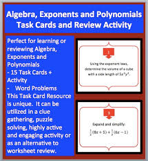 algebra exponents and polynomials task cards and unique