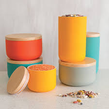 Large Kitchen Canisters Amazon Com Now Designs Canister Large Camellia Set Of 2