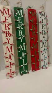 merry mail painted christmas card holder rustic christmas card