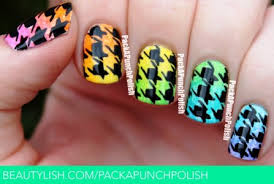 gradient houndstooth print nail art tutorial amazingnailart org