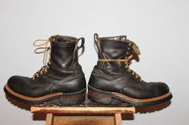 vintage cowboy boot l vintage red wings steel toe black leather logger lineman work boots
