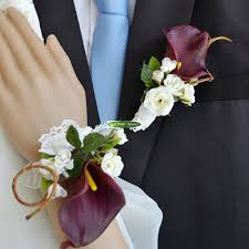 calla corsage 6pcs pu handmade artificial calla boutonniere party wedding