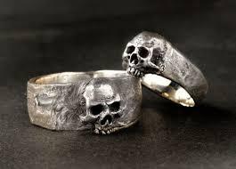 skull wedding ring sets silver skull wedding ring set solid sterling silver wedding skull