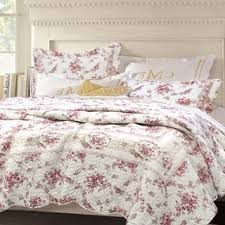shabby chic vintage rose 3 piece cotton quilt set home