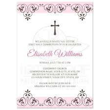 communion invitation pale pink and brown holy communion invitation with ornate borders