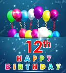 Image result for happy 12th birthday balloons