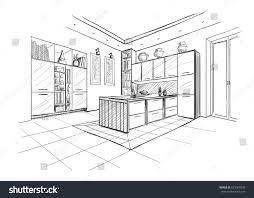interior sketch modern kitchen island stock vector 621969248