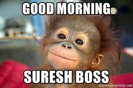Baby Monkey Meme - good morning suresh boss baby monkey cutie meme generator