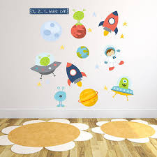 rocket stickers walls space fabric wall stickers