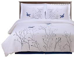 impressions swallow 3 piece embroidered 100 cotton duvet cover