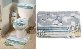 Nautical Bath Rug Sets 4 Pieces Lighthouse Decor Bath Mat Rug Set Nautical Blue Seaside
