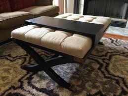 elegant tufted ottoman coffee table fabric storage thippo