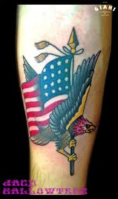 eagle and american flag tattoo by jack gallowtree best tattoo