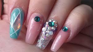 acrylic nails turquoise angel paper youtube