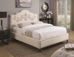 Beige Upholstered Bed Homecrest 300491 Upholstered Bed In Beige Fabric By Coaster