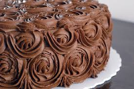 night baking chocolate rose wedding shower cake with pastry cream