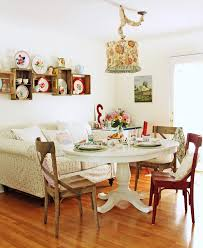 Cottage Dining Room Table Industrial Cottage Dining Room Shabby Chic Style With Floral Shade