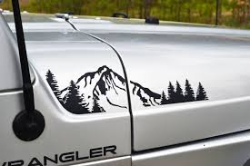 jeep hood decals jeep wrangler tj 1997 2006 extended hood with mountain and