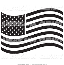 Waving American Flag American Flag Black And White Clipart