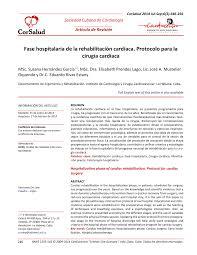 fase hospitalaria de la rehabilitación cardíaca protocolo para la