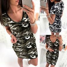 camouflage short sleeve casual dresses for women ebay