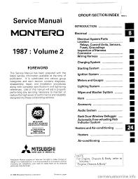 mitsubishi montero 1987 1 g workshop manual