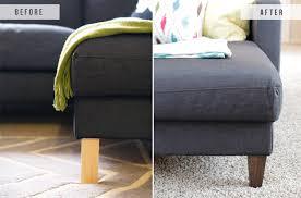Plastic Sofa Feet Replacement Ikea Hack U2013 Replacing Legs On An Ikea Couch U2013 The Blissful Bee
