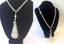 pearl necklace tiffany images The great gatsby tiffany 39 s inspired pearl tassel necklace png