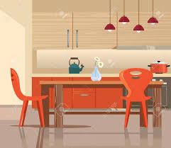 home interior vector home kitchen interior vector flat illustration royalty
