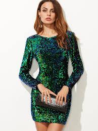 sequin dresses iridescent sleeve sequin bodycon dress green makemechic