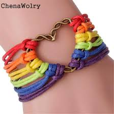 braided bracelet with charms images Wholesale chenawolry new fashion design attractive rainbow flag jpg