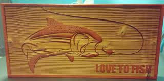 fishing home decor wood gallery lasered engrave detail