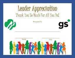 appreciation award letter sample leader appreciation certificate girl scouts pinterest girls leader appreciation certificate